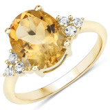 APP: 1.7k 10KT Yellow Gold 2.80CT Citrine and White Topaz Ring -Great Investment- (Vault_Q) (QR3580C