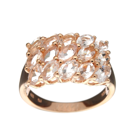 APP: 1.5k Fine Jewelry 2.60CT Oval Cut Morganite And  Sterling Silver Rose Gold Plated Ring