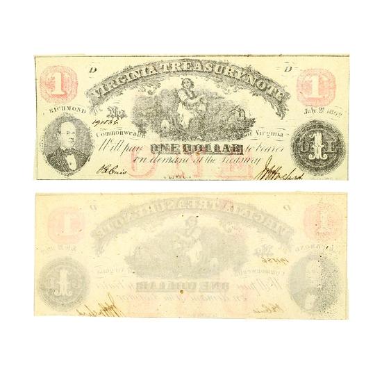 Rare 1862 $1 Richmond Virginia Treasury Note - Great Investment -