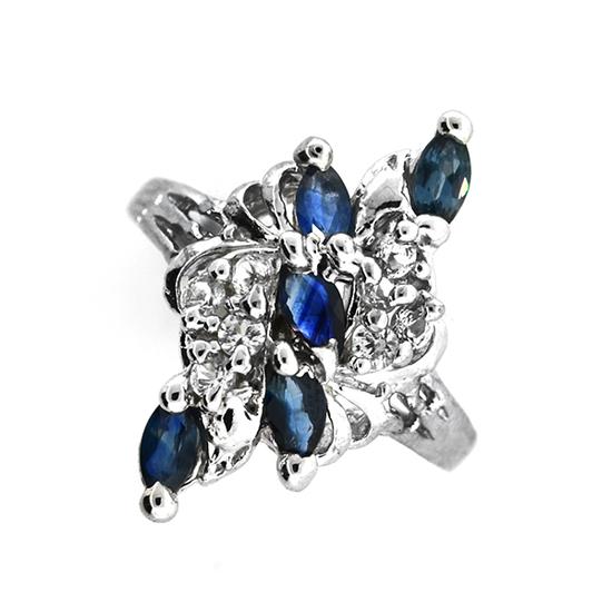 Fine Jewelry Designer Sebastian 0.75CT Blue Sapphire And Topaz  Platinum Over Sterling Silver Ring