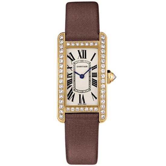 Cartier Women's Americane Rectangle Stainless Steel Case White Dial Sapphire Push/Pull Quartz Watch