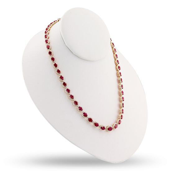 APP: 22.8k 26.62ctw Ruby and 5.01ctw Diamond 14K Yellow Gold Necklace (Vault_R15_45127)