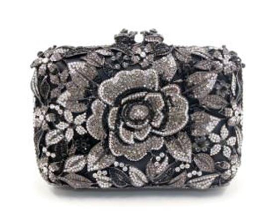 "*Rare Exquisite Swarovski Crystal Element Handbag by Christal Couture ""Diana - Black/Grey/Silver"" -"