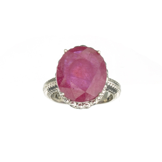 Fine Jewelry Designer Sebastian 10.29CT Oval Cut Ruby And Platinum Over Sterling Silver Ring