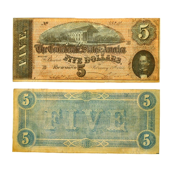 Rare 1864 $5 The Confederate States of America Richmond Note - Great Investment -