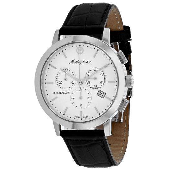 Mathey Tissot Men's Classic Round Stainless Steel Case White Dial Sapphire Push/Pull Quartz Watch (V
