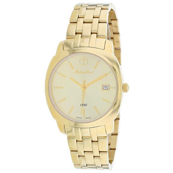 Mathey Tissot Women's Smart Round Stainless Steel Case Gold Dial Sapphire Push/Pull Quartz Watch (Va