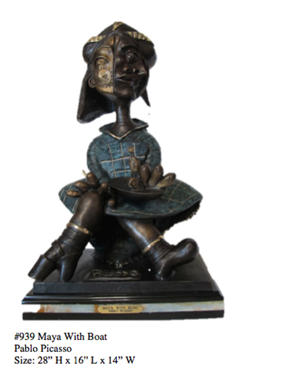 *Rare Limited Edition Numbered Bronze Picasso ''''Maya with Boat'''' 28'''' H x 16'''' L x 14'''' W