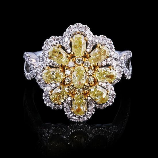 APP: 18k 1.8ctw Fancy Yellow Diamond and 0.48ctw Diamond 14K White Gold Ring (2.28ctw Diamonds) (Vau