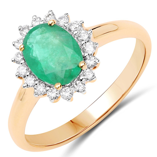 APP: 3.6k 10KT Yellow Gold 1.20CT Zambian Emerald and White Diamond Ring -Great Investment- (Vault_Q