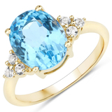 APP: 1.8k 10KT Yellow Gold 4.00CT Swiss Blue Topaz and White Topaz Ring -Great Investment- (Vault_Q)