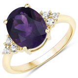 APP: 1.7k 10KT Yellow Gold 3.20CT African Amethyst and White Topaz Ring -Great Investment- (Vault_Q)