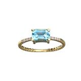 APP: 0.7k Fine Jewelry 14KT. Gold, 1.38CT Blue Topaz  And Diamond Ring