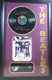 *Rare The Beatles Vinyl Record and Mini Guitar Museum Framed Collage - Plate Signed