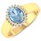 APP: 5.3k Gorgeous 14K Yellow Gold 0.91CT Oval Cut Aquamarine and White Diamond Ring - Great Investm