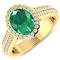 APP: 10.2k Gorgeous 14K Yellow Gold 1.41CT Oval Cut Zambian Emerald and White Diamond Ring - Great I