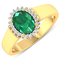APP: 6.9k Gorgeous 14K Yellow Gold 0.96CT Oval Cut Zambian Emerald and White Diamond Ring - Great In