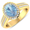 APP: 7.2k Gorgeous 14K Yellow Gold 1.21CT Oval Cut Aquamarine and White Diamond Ring - Great Investm