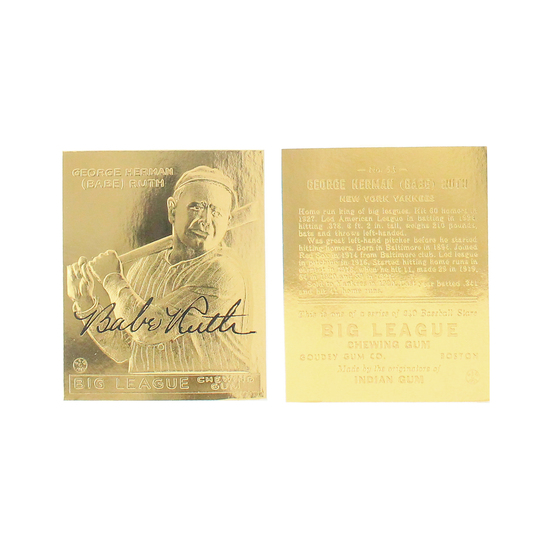 Rare Babe Ruth No. 53 Big League Goudey 23kt. Gold Card - Great Investment -