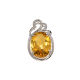APP: 0.8k Fine Jewelry 10.70CT Citrine And White Sapphire Sterling Silver Pendant