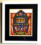 Burton Morris - ''''Slot Machine'''' Orange Framed Giclee Original Signature