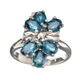 Fine Jewelry Designer Sebastian 2.76CT Oval Cut Blue Topaz And Sterling Silver Cluster Ring