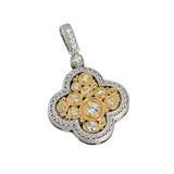 APP: 4k *Fine Jewelry 14KT.T Two Tone Gold, .35CT Round Brilliant Cut Diamond Drop Pendant (VGN A-64