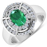 APP: 9.2k Gorgeous 14K White Gold 0.96CT Oval Cut Zambian Emerald and White Diamond Ring - Great Inv