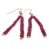 APP: 0.7k 28.00CT Round Cut Bead Ruby And White/Yellow Sterling Silver Earrings