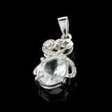 Fine Jewelry 2.35CT Aquamarine Beryl And Colorless Topaz Platinum Over Sterling Silver Pendant