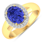 APP: 6.9k Gorgeous 14K Yellow Gold 1.31CT Oval Cut Tanzanite and White Diamond Ring - Great Investme