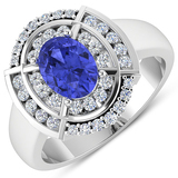 APP: 7.5k Gorgeous 14K White Gold 1.06CT Oval Cut Tanzanite and White Diamond Ring - Great Investmen