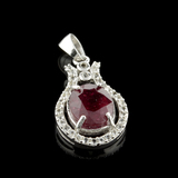 APP: 1k Fine Jewelry 3.25CT Ruby And Colorless Topaz Platinum Over Sterling Silver Pendant