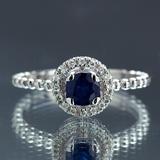 APP: 2.4k *Fine Jewelry 14KT.T White Gold, 0.64CT Round Brilliant Cut Blue Sapphire And 0.16CT Diamo
