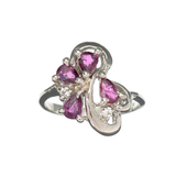 APP: 0.9k Fine Jewelry 0.75CT Ruby And Topaz Platinum Over Sterling Silver Ring
