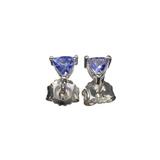 APP: 0.2k Fine Jewelry 0.46CT Triangle Cut Tanzanite Over Sterling Silver Earrings