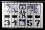 *Rare New York Yankees All-Time Retired Numbers 3, 4, 5, and 7 Museum Framed Collage - Plate Signed