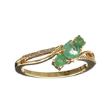 Designer Sebastian 14KT. Gold, 0.62CT Round Cut Emerald and 0.02CT Round Brilliant Cut Diamond Ring
