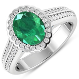 APP: 10.2k Gorgeous 14K White Gold 1.41CT Oval Cut Zambian Emerald and White Diamond Ring - Great In
