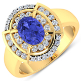 APP: 7.6k Gorgeous 14K Yellow Gold 1.06CT Oval Cut Tanzanite and White Diamond Ring - Great Investme