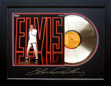 *Rare Elvis Presley NBC TV Special Album Cover and Gold Record Museum Framed Collage - Plate Signed