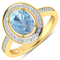 APP: 6.1k Gorgeous 14K Yellow Gold 1.21CT Oval Cut Aquamarine and White Diamond Ring - Great Investm