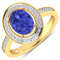 APP: 6.3k Gorgeous 14K Yellow Gold 1.31CT Oval Cut Tanzanite and White Diamond Ring - Great Investme