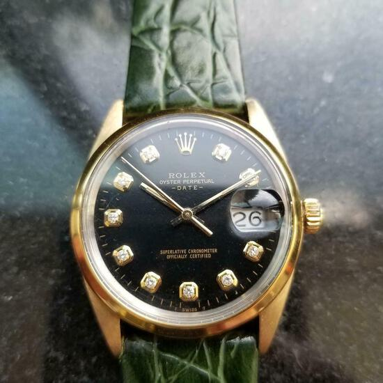 *ROLEX Oyster Date 34mm Automatic Diamond Dial c.1980s Men's Watch -P-