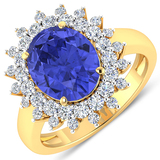 APP: 16k Gorgeous 14K Yellow Gold 3.21CT Oval Cut Tanzanite and White Diamond Ring - Great Investmen