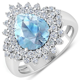 APP: 12.5k Gorgeous 14K White Gold 2.11CT Pear Cut Aquamarine and White Diamond Ring - Great Investm