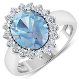 APP: 12.5k Gorgeous 14K White Gold 2.51CT Oval Cut Aquamarine and White Diamond Ring - Great Investm