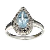 Fine Jewelry Designer Sebastian, Aquamarine And White Topaz Sterling Silver Ring