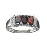 APP: 0.4k Fine Jewelry 1.84CT Almandite Garnet And White Sapphire Sterling Silver Ring