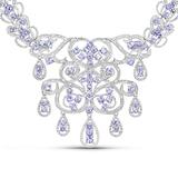 APP: 6.8k 21.56 Oval Cut Tanzanite and White Diamond .925 Sterling Silver Necklace -Professional Qua